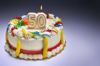 50th Birthday Cake With Candles
